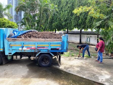 หน้าดินปลูกต้นไม้ เตรียมขนไปถมในพื้นที่